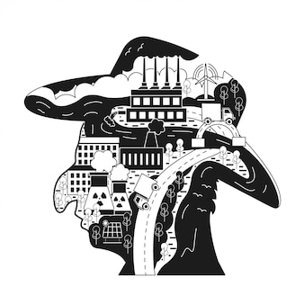 Ecological concept in man silhouette
