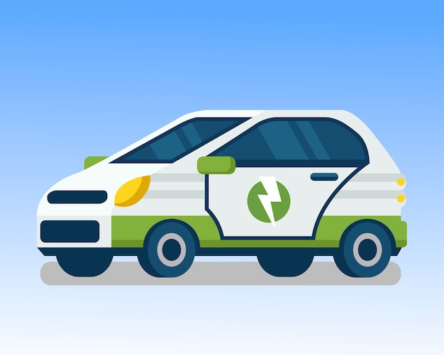Ecological, electric vehicle color illustration