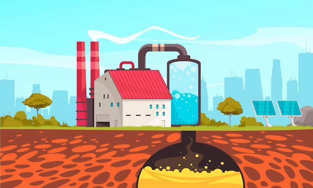ソーラーパネルとスマートシティのイラストを使用したエコロジカルエネルギー炭素回収技術フラットカラフルな構成