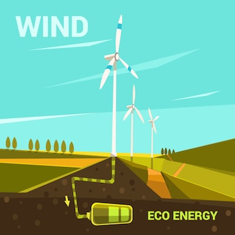 Ecological energy cartoon poster with windmills on a field retro style