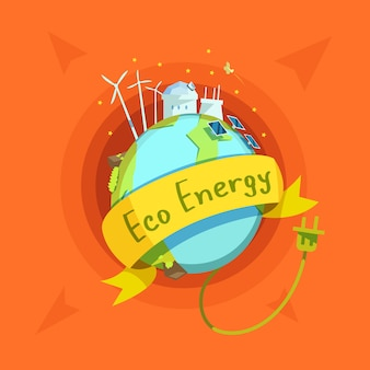 Ecological energy retro cartoon with globe and eco power stations on it