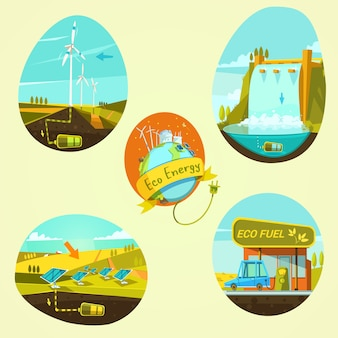 Ecological energy retro style cartoon concept set