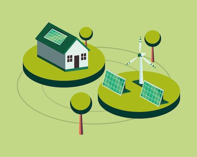 Экологический дом с солнечными батареями и ветряной мельницей изометрический дизайн, экономия энергии, экологически чистая и экологическая тема