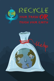 Ecological illustration of planet earth that suffocated in a plastic bag.