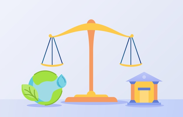 Ecological law concept with scale balance and world icon with flat style