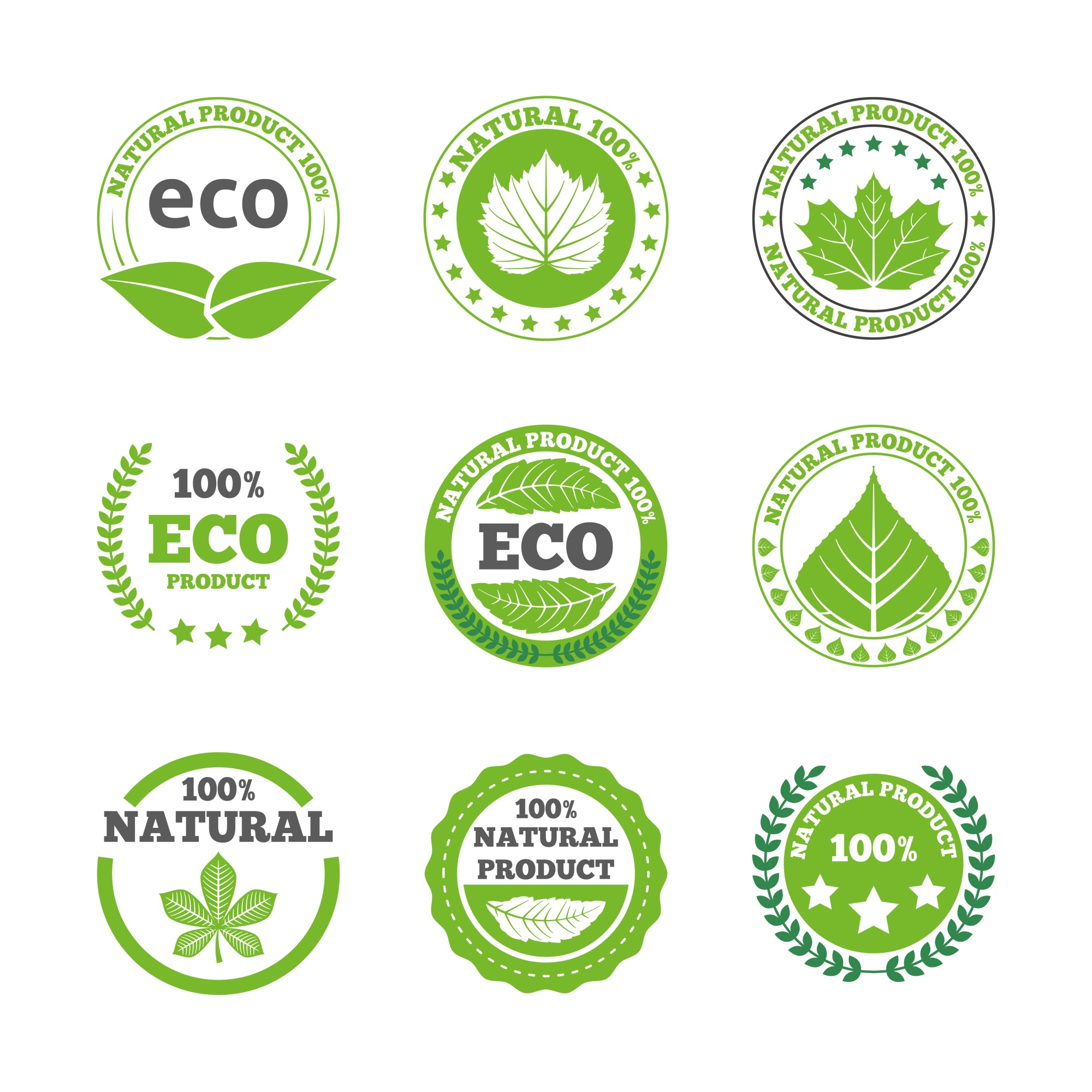 Ecological leaves labels icons set