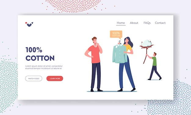 Ecological natural clothes landing page template. male character buy shirt made of cotton fiber, organic material manufacturing and sewing clothes, man carry flower. cartoon people vector illustration