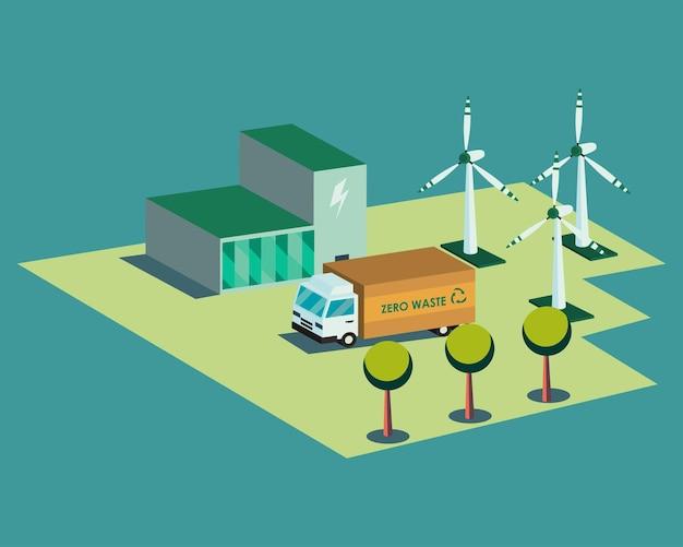 エコロジカルプラントトラックと風車のアイソメトリックデザイン、省エネ環境の持続可能な環境テーマ