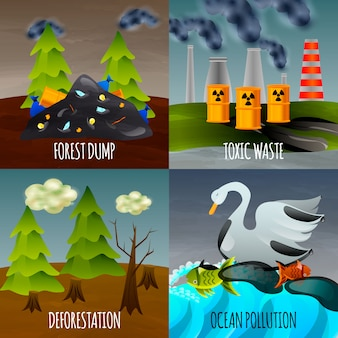 Ecological problems banner set