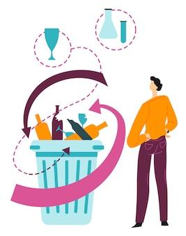 유리 폐기물의 재활용을 다루는 생태학적 문제. 환경 문제, 컨테이너의 쓰레기. 생태 및 자연 보전, 쓰레기 오염, 평면 스타일 그림의 벡터