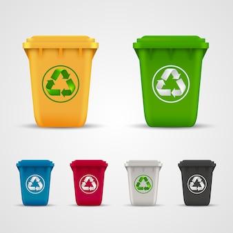 생태 쓰레기는 아트 색상을 설정합니다. 벡터 일러스트 레이 션