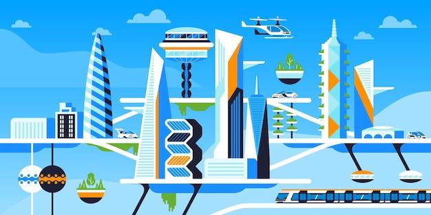 생태학적으로 깨끗한 도시 평면 벡터 일러스트입니다. 미래 도시, 지속 가능한 대도시. 혁신적이고 친환경적인 기술. 건물, 교통 및 녹지. 환경적으로 안전한 대도시
