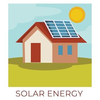 친환경적이고 지속 가능한 천연 자원. 태양 에너지를 축적하는 태양 전지 패널로 건물. 에코 파워 생성을 위한 친환경 배터리. 평면 스타일의 벡터