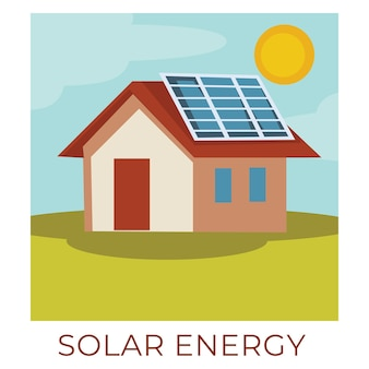 Ecologically friendly and sustainable natural resources. building with solar panels accumulating energy of sun. environmentally friendly batteries for generating eco power. vector in flat style Premium Vector