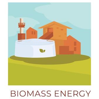 産業目的でバイオマスエネルギーを使用して、環境にやさしい技術と電力を得る方法。持続可能で再生可能な天然資源。フラットでの生産と生成のベクトル