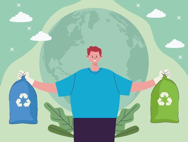 Мешки для мусора с подъемом эколога