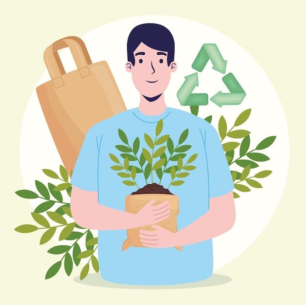 植物を持つ生態学者の男