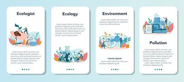 Ecologist mobile application banner set. set of scientist taking care of ecology and environment. air, soil and water protection. professional ecological activist.