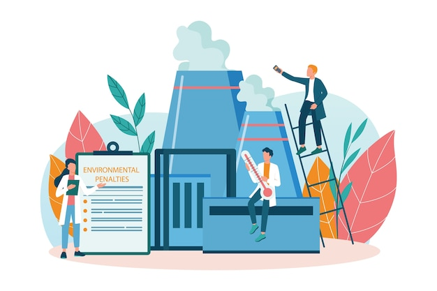 Ecologist taking care of earth and nature concept. scientist taking care of ecology and environment. air, soil and water protection. professional ecological activist. vector illustration