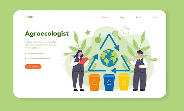 Эколог, заботящийся о земле и природе веб-баннера или целевой страницы. ученый заботится об экологии и окружающей среде. охрана воздуха, почвы и воды.