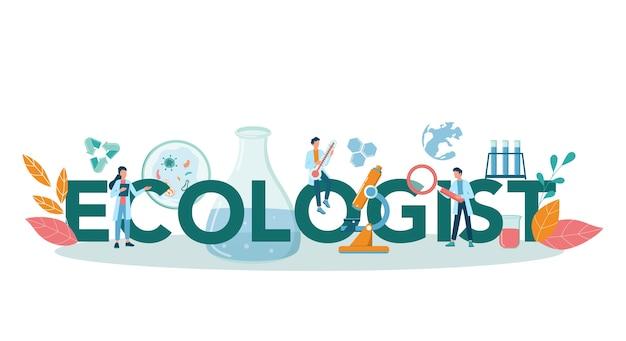 Эколог типографская концепция заголовка. ученый заботится об экологии и окружающей среде. охрана воздуха, почвы и воды. профессиональный экологический активист.