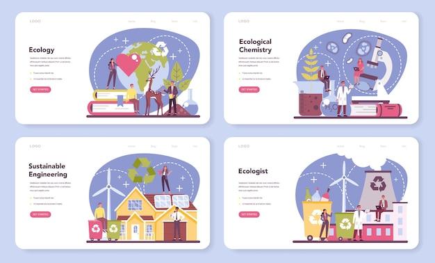 Набор веб-баннера или целевой страницы эколога