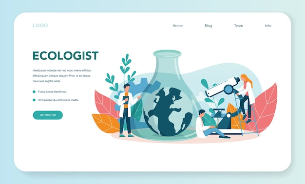 Ecologist web landing page. scientist taking care of ecology and environment. air, soil and water protection. professional ecological activist. vector illustration