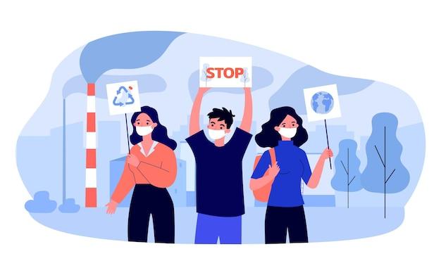 プラカードとバナーを持ったエコロジー活動家。森林破壊を停止するように求めるマスクのキャラクター、ペットボトルのフラットベクトルイラストをリサイクルします。環境、バナーのエコロジーコンセプト、ウェブサイトのデザイン