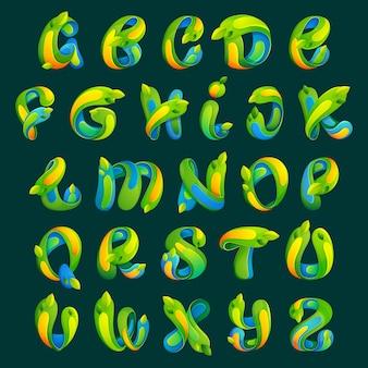 葉がセットされたエコロジーアルファベット文字。フォントスタイル、エコロジーアプリケーションまたはコーポレートアイデンティティのデザインテンプレート要素。