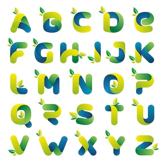 Ecology alphabet with green leaves. font style