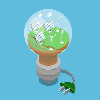 Ecology alternative eco green energy isometric concept. solar batteries wind turbines on green grass inside lamp illustration.