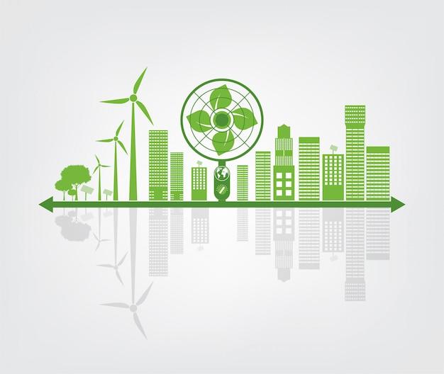 エコロジーと環境コンセプト、都市周辺の緑の葉と地球のシンボルは、環境に優しいアイデアで世界を助けます