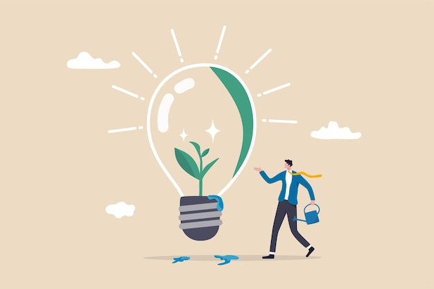 생태 및 지속 가능한 비즈니스, 녹색 아이디어 또는 세계 기후 변화에 대한 보호, 환경 관리 개념, 녹색 전구 아이디어 안에서 자라는 묘목에 물을 주는 똑똑한 사업가.