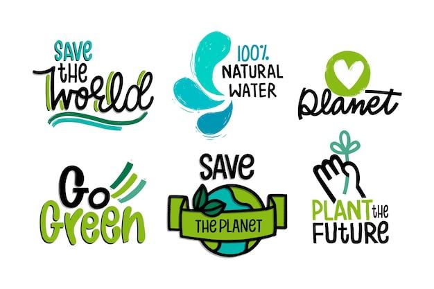 Distintivi di ecologia che disegnano tema