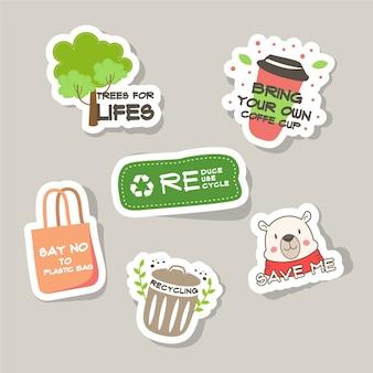 Ecology badges hand drawn design