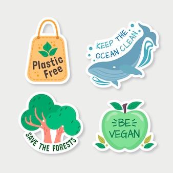 Ecology badges hand drawn style