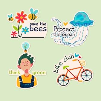 Экология значки в рисованной