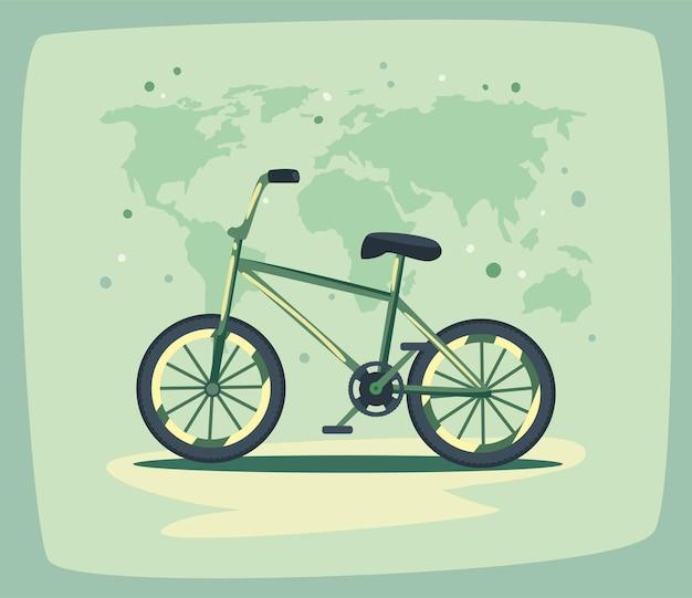 エコロジー自転車と惑星地球の地図