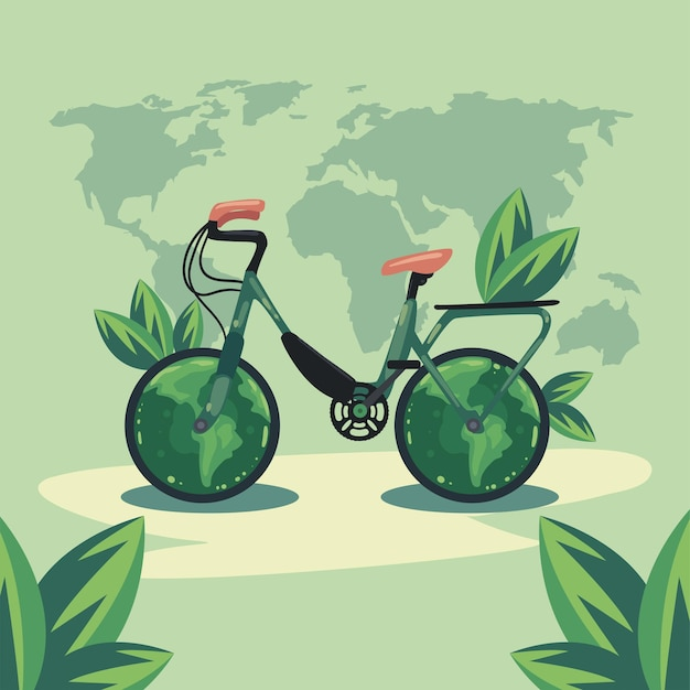 Ecology bicycle in earth maps
