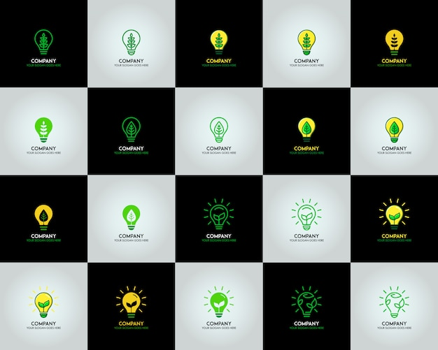 Ecology bulb lamp with leaf logo