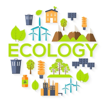 Ecology circle infographics template concept