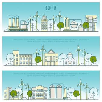 生態都市バナー。エコ技術、地元の環境の持続可能性の細い線アイコンのテンプレート