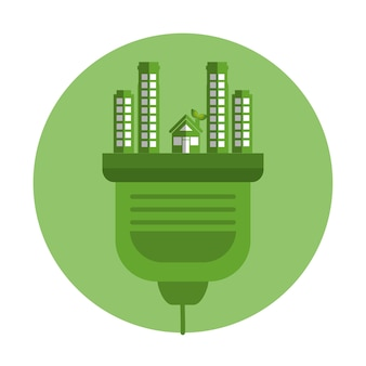 Ecology city green icon vector illustration design