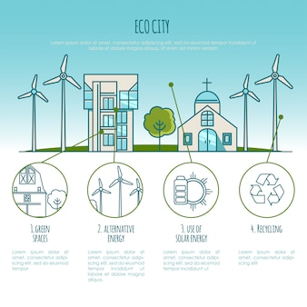 Ecology city landscapes, urban houses. alternative energy. infographic illustration