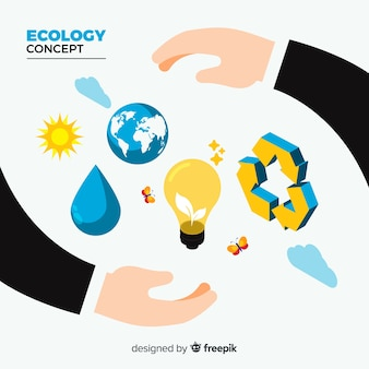 Ecology concept background flat design