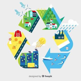 Ecology concept background flat design