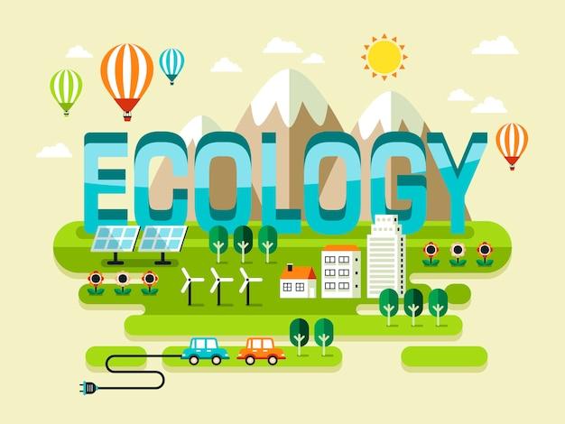 Концепция экологии, красивые пейзажи в стиле