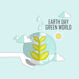 Ecology concept: earth day green world in line style