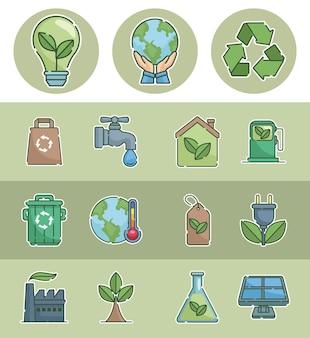 Концепция экологии пятнадцать иконок