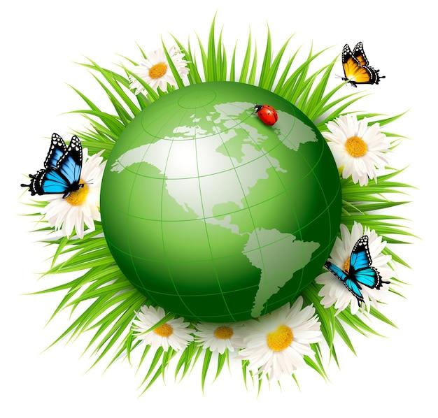 Концепция экологии. зеленый глобус и трава с цветами. векторная иллюстрация.